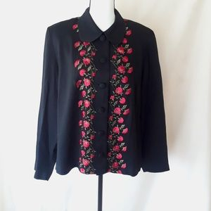 Vintage 80's Black Jacket with Embroidered Flowers
